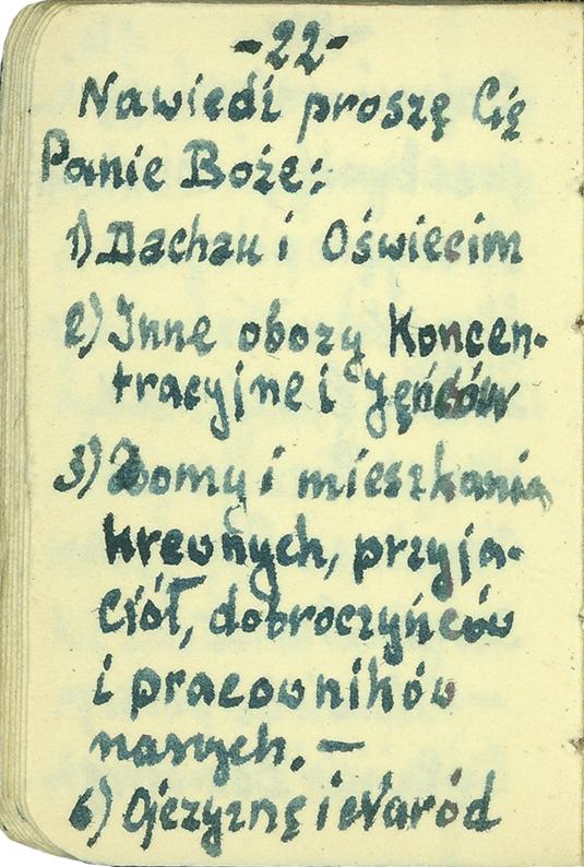 Karta z modlitewnika Aleksandra Zamoyskiego, wykonanego własnoręcznie w KL Dachau w 1942 r.