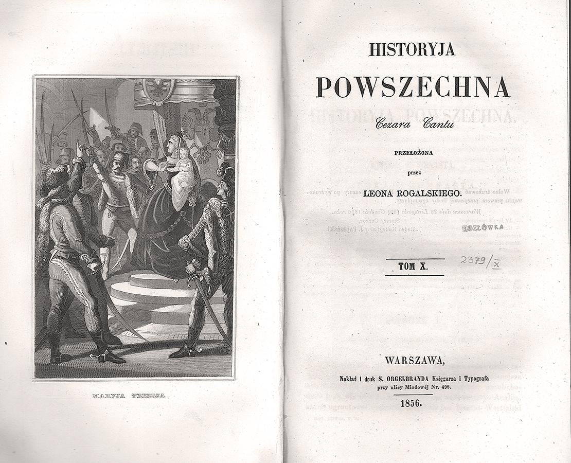 Historyja powszechna Cezara Cantù..., strona tytułowa